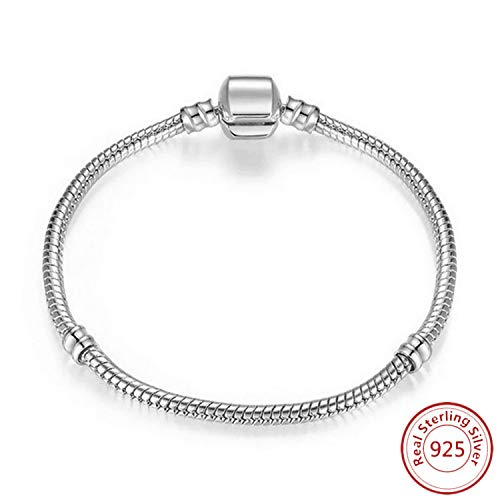 Beads R Us  - Sterling Silver Snap Clasp Snake Chain Charm Bracelet, Compatible with all makes of European Beads, Charms, Clips and Stoppers, available in 9 Sizes. (21)