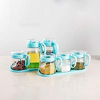 Xilei 6 Piece Glass Condiment Pots with Lids and Spoons