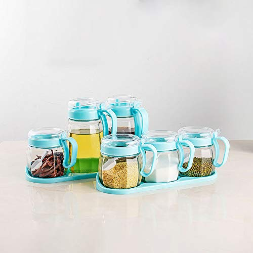 Xilei Condiment Container Seasoning Box 6 Pieces with Spoon Lid and Base Storage Container Condiment Jars,Kitchen Supplies