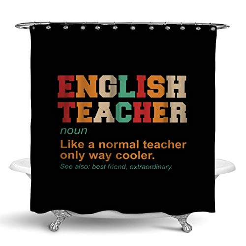 NiYoung English Teacher Definition Cooler Best Friend Shower Curtain Quick-Drying Shower Curtain Liner Water Repellent Bath Curtains Machine Washable Bath Curtains