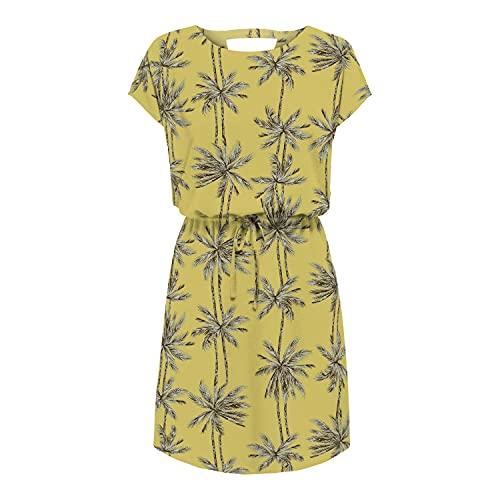 Only Onlnova Life Connie Bali Dress WVN 3 Vestido, Amarillo/AOP: Palmera, 40 para Mujer