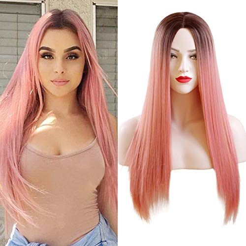 Orange Pink Women's Wigs Silk Straight Ombre Pink Wig with Dark Roots Pastel Glueless Cosplay Heat Resistant Synthetic Wig Long Straight Middle Part Pink Wig for Women (26inch, Mixed Light Orange Purple Pink Color )