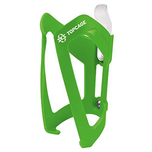 SKS GERMANY TOPCAGE Flaschenhalter für Fahrräder (Fahrrad-Flaschenhalter aus hochfestem sowie leichtem Kunststoff, verstellbarer Anschlag, variable Fanghaken für sichere Arrertierung), Grün
