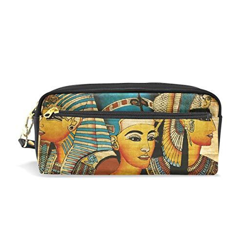 Cpyang Pencil Case antico egiziano pergamena pelle matita borsa penna cerniera Supporto Student cancelleria cosmetici