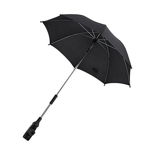 Kinderwagen Kinderwagen Sonnenschirm Regenschirm Baby Rollstuhl Kinderwagen UV-Strahlen Sonne Regen Sonnenschirm Regenschirm + Clip Fit für Trolley Angeln - Schwarz