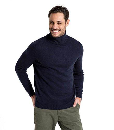 Wool Overs Rollkragenpullover aus Merino- und Kaschmirwolle für Herren Navy, L