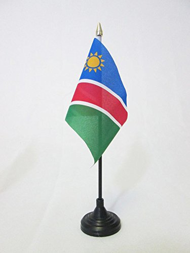 AZ FLAG TISCHFLAGGE Namibia 15x10cm goldene splitze - Republik Namibia TISCHFAHNE 10 x 15 cm - flaggen