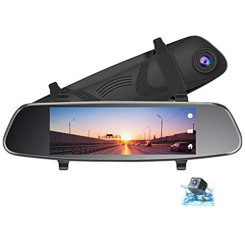 TOGUARD 8' Mirror Dash Cam, Dual Lens Touch Screen Rear View Mirror Camera 1080P Front and 720P...