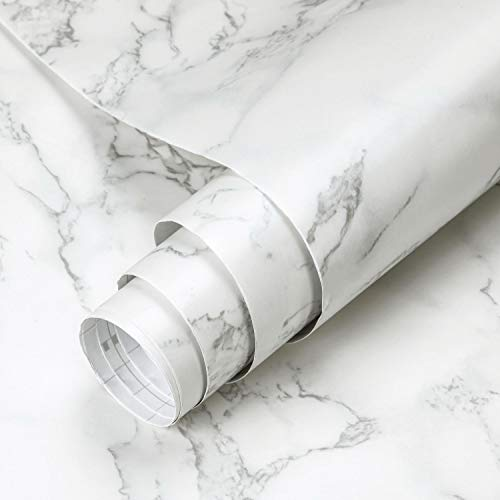 Papel de Adhesiva de PVC 0.61 x 5M Autoadhesivo Mármol Mate Espesar Pegatinas Papel Pintado Impermeable Membrana para Armario Chimenea Encimera Azulejo Paredes Baño Sala de Estar Lavabo DIY (Tipo D)