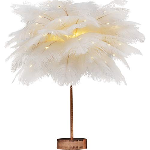 ZWMG Lámparas de Mesa Pluma lámpara de Mesa lámpara Blanca for el Dormitorio lámpara de cabecera niños cumpleaños de la Boda de la Vendimia de Deco luz del Escritorio de Metal Base de la lámpara