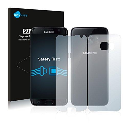 savvies 18-Pezzi Pellicola Protettiva Compatibile con Samsung Galaxy S7 Edge (Anteriore + Posteriore) Protezione Schermo Trasparente