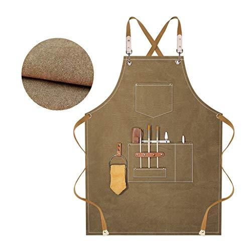 gszfsm001 - Delantal de trabajo de tela vaquera antiblanqueamiento y antiarrugas, delantal de herramientas de taller, con cinturón ajustable, apto para salones de peluquería, cocinas, cafeterías, etc.