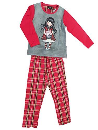 Santoro Gorjuss - Pijama de 2 piezas de camiseta + pantalón 100 % cálido de algodón Tartán de invierno original y original, ideal para niña/niña o mujer en caja de regalo rojo 6 años