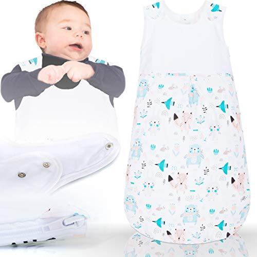 Sommerschlafsack 100% Baumwolle mit Belüftungseinsätzen Schlafsack Kind Baby (Ärmellos) (70 cm, TIERKINDER)