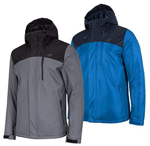 4F Winterjacke Herren | Snowboardjacke in Schwarz und Blau | Skijacke mit Kapuze | Warme Jacke | Kapuzenjacke für Winter | Wassersäule 5.000 mm Winddicht Wasserdicht (Grau, M)