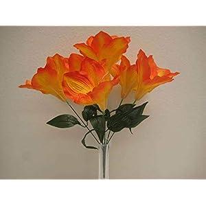 "JumpingLight 6 Bushes Orange Amaryllis 6 Artificial Silk Flowers 16"" Bouquet 647OR Artificial Flowers Wedding Party Centerpieces Arrangements Bouquets Supplies"