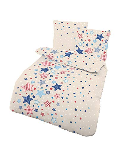 Dobnig Fein Biber Kinder Jugend Bettwäsche STARS Sterne & Sternchen - beige, blau, rot - 2 tlg. Kissenbezug 80x80 + Bettbezug 135 x 200 cm - 100% Baumwolle - hergestellt in Deutschland
