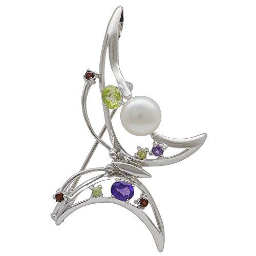 Broche/colgante mariposa Amatista reloj Peridot 925 señoras plata