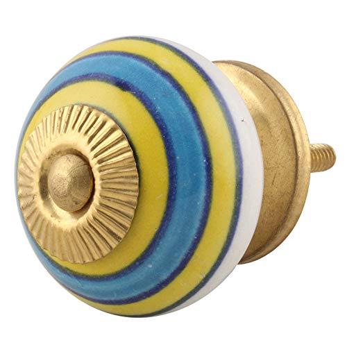 8 pieza de cerámica artesanal Indianshelf cielo azul amarillo cajón archivador pomos de puertas armario APARADOR Aparador tira de nuevo en línea
