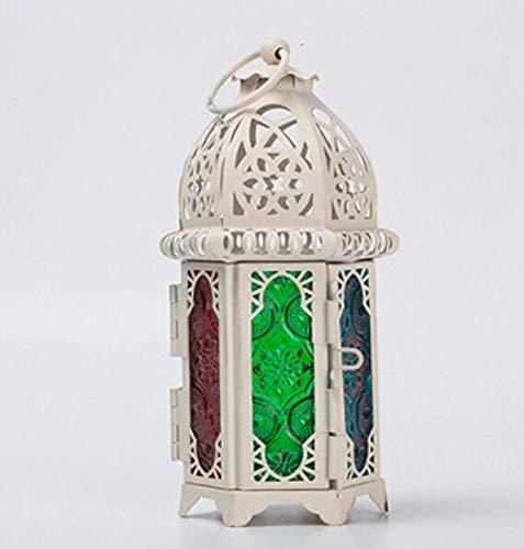 ARMAC Portavelas de hierro forjado hueco creativo colorido gancho titular de vela para patio, interiores/exteriores, eventos, fiestas y bodas (blanco)