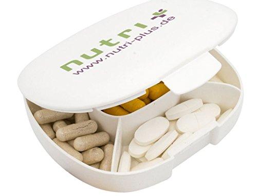Kapseldose Kapselbox - 11 x 10 x 3 cm - Pillendose Pillenbox zur Aufbewahrung 5 Tage / Fächer - Tablettendose Tablettenbox - ohne BPA - Nutri-Plus Supplement Box