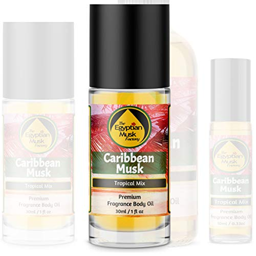 The Egyptian Musk Factory by WagsMarket - Caribbean Musk Perfume Oil for Men and Women, Choose from 0.33oz Roll On to 4oz Glass Bottle (1oz Roll On)