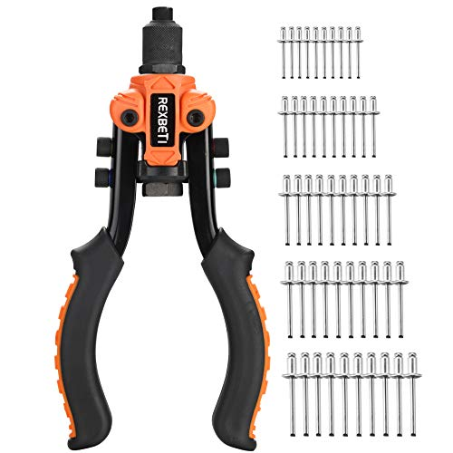 REXBETI 10.5-Inch Hand Rivet Gun, Heavy Duty Rivet Gun Tool with 5 Replaceable Rivet Heads, Labor-Saving Design, with 50pcs Rivets, Perfect for Repair, DIY Projects