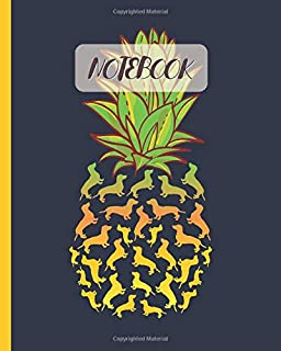 """Notebook: Cute Yellow Dachshund Pineapple Graphic - Lined Notebook, Diary, Track, Log & Journal - Gift Idea for Boys Girls Teens Men Women (8""""x10"""" 120 Pages)"""