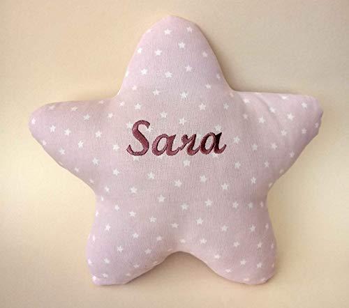 Cojín estrella personalizado para bebés, con su nombre, bordado a máquina. Tamaño pequeño 29X29cm y peso110gr.