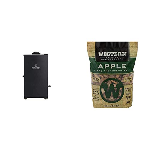 Masterbuilt Digital Electric Smoker | Outdoor, 30-Inch, Black | MB20071117 Model & Western Premium BBQ Smoking Chips, Apple BBQ