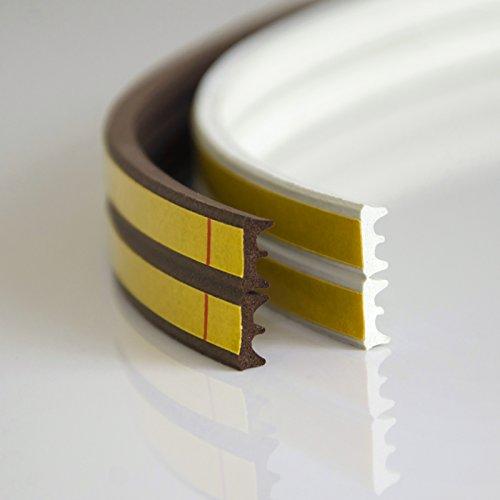 DQ-PP Fensterdichtung | 1 Meter | Weiß | selbstklebend | Profil E | Dichtband Dichtungsband | klebend Isolierband Klebedichtung Gummi Fensterdichtband