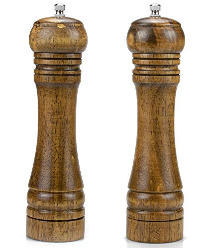Nicunom Pack of 2 Wooden Salt and Pepper Grinder Set, 8' Salt and Pepper Mills Shakers with Ceramic Rotor for Seasoning, Cooking, Serving, Dining