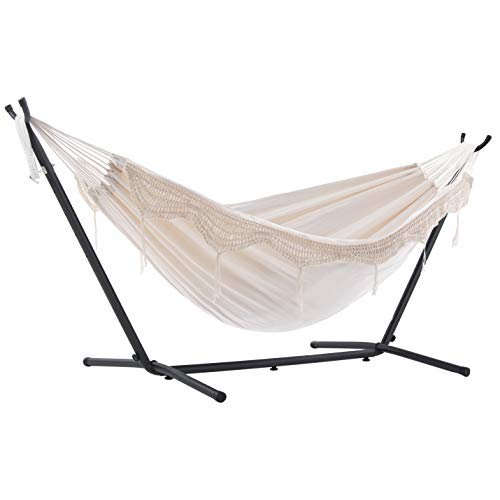 Vivere Double Hammock with Space Saving Steel Stand, Natural (450 lb Capacity - Premium Carry Bag...