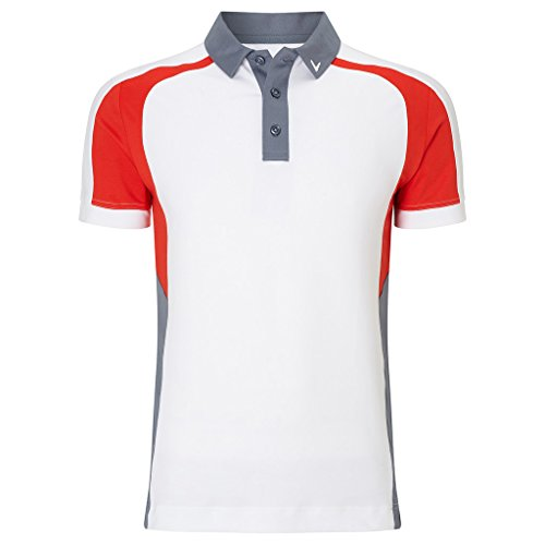 Callaway 3 Colour Blocked Polo de Golf, Niños, Blanco, S