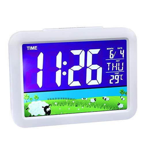 Wecker Digital Kinderwecker Jungen Mädchen Digitaler Reisewecker mit Temperatur Datum 8 Weckerlieder 12/24 HR Snooze und Nachtlicht Funktion
