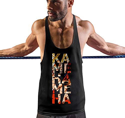 Stylotex Stringer Fitness Tank Top Kamehameha Herren Gym Tshirts für Performance beim Training | Männer ärmellos | Funktionelle Sport Bekleidung, Größe:L, Farbe:schwarz