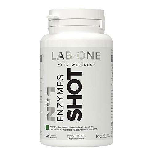 Lab One Enzymes Shot Paquete de 1 x 60 Cápsulas - Enzimas Digestivas - Suplemento para Mujeres y Hombres - Bromelina - Papaína - Proteasa - Alfa-Amilasa - Lactasa - Celulasa