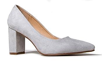 J Adams Jolie Classic Block Pumps - Pointed Toe Chunky Heels for Women