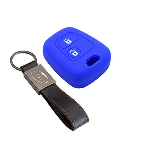 kaser Funda Silicona para Llave Peugeot Citroen – Carcasa Llaveros para Coche Peugeot 207 307 406 407 Citroen C1 C2 C3 Cover Case Protección Mando Distancia Auto (Azul)