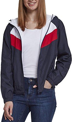 Urban Classics Damen Ladies 3-Tone Windbreaker Jacke, Mehrfarbig (Navy/White/Fire Red 01243), Large (Herstellergröße: L)