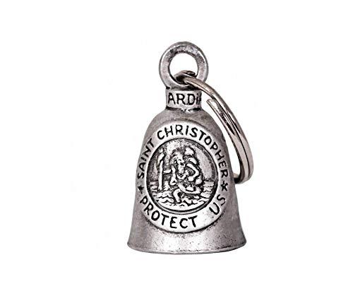 Guardian Bell - Llavero con amuleto para moto, diseño de campana con medalla de San Cristóbal