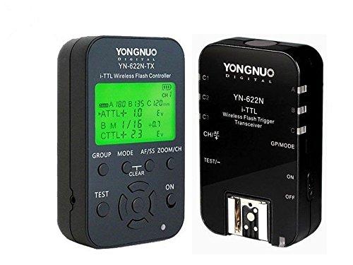 Yongnuo YN622N Kit TX - Kit de transceptor Yongnuo YN-622 y emisor TX YN-622tx para Nikon (LCD, 100 m), Color Negro