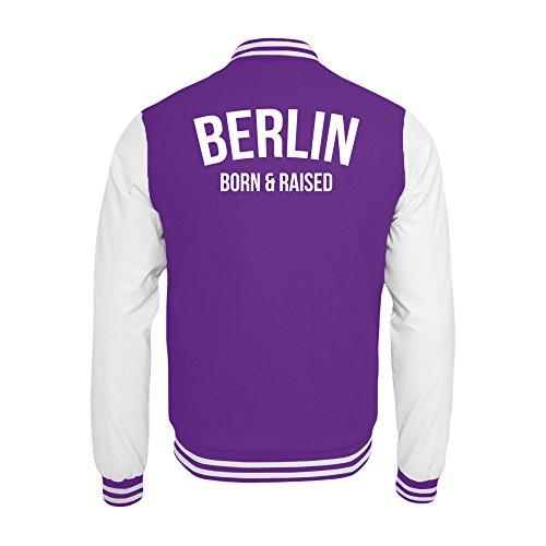 PlimPlom Berlin College Jacke In Lila/Weiß Hauptstadt Born & Raised (M)