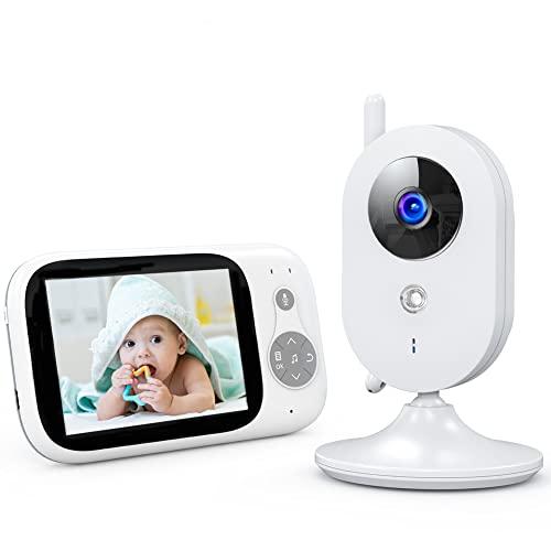 Baby Monitor Video a Colori LCD da 3,2 Pollici Trasmissione a 2,4 GHz, Comunicazione bidirezionale, modalità VOX, Visione Notturna, sensore di Temperatura, 8 ninne nanne