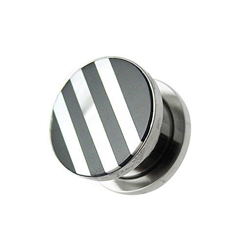 Zwarte en witte strepen natuurlijke moer van de parel top 316L chirurgisch staal gauge vleestunnel oorpiercing