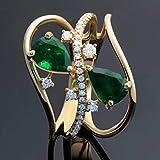 Anillo de gota de agua galvanizado, anillo de esmeralda de imitación, anillo de compromiso de moda europeo y americano, 1 unidad (tamaño 8, diámetro 18,1 mm)