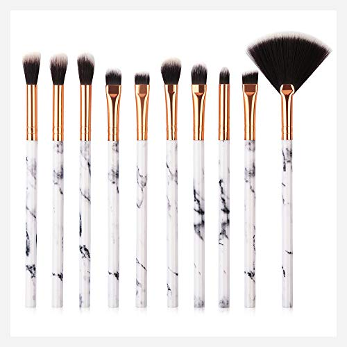 Kit De 10 Pinceaux De Maquillage Pour Les Yeux En Marbre Rawdah 10 Pcs Makeup Brush Set Professional Face Eye Shadow Eyeliner Foundation Blush