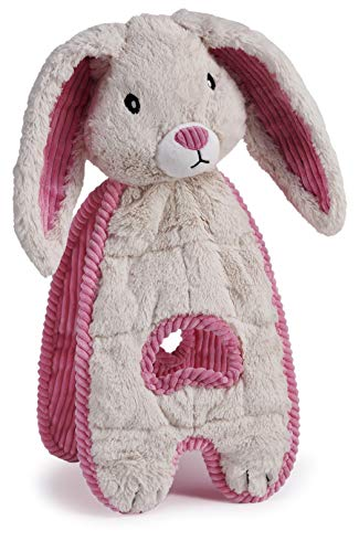 Charming Pet Cuddle Tugs Bunny Plush Dog Toy - Tough and Durable Interactive Soft Animal Squeaky Tug Toy, White, xl