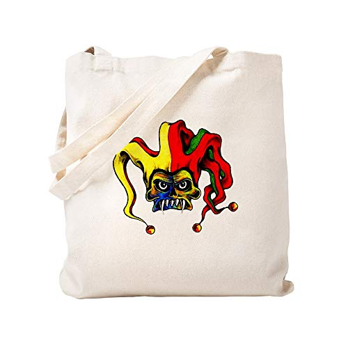 CafePress Evil Joker Clown Tattoo Natural Canvas Tote Bag, Reusable Shopping Bag