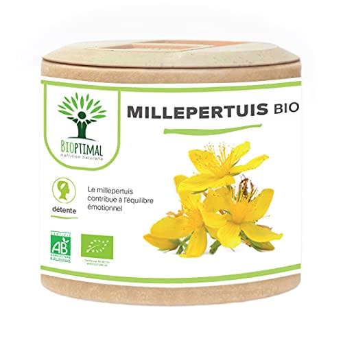 Millepertuis bio - Bioptimal - Complément Alimentaire - Bonne humeur Déprime Stress Anxiété Sommeil - Hypericine Hyperforine - 190mg/gélule - Fabriqué en France - Certifié par Ecocert - 60 gélules